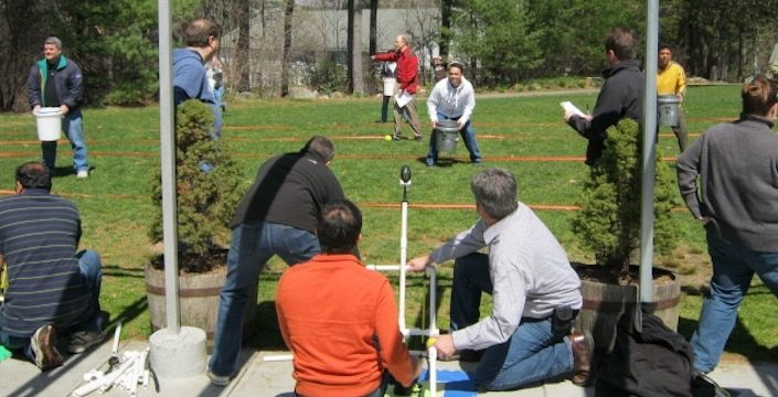 Outdoor Catapult action shot from behind the launching teams