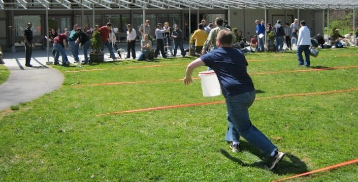 Participants during an outdoor catapult