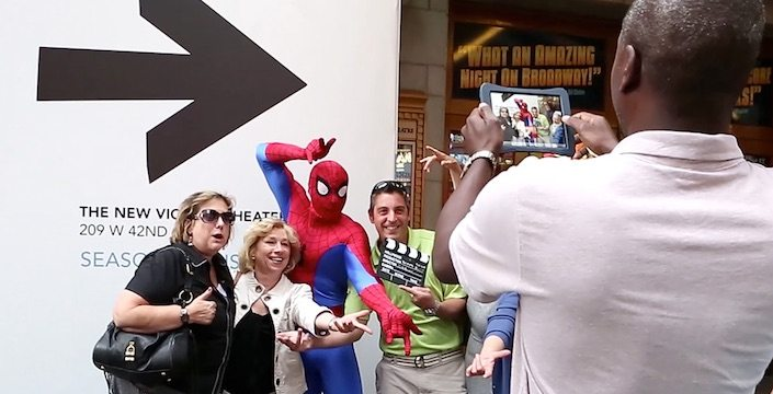 iPad photo being taken of a SmartHunts Team with Spiderman