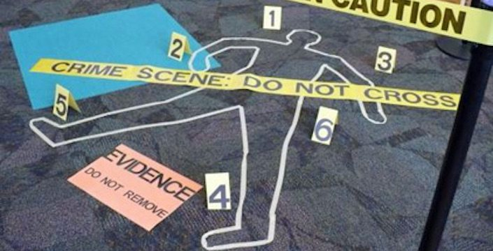 Photo of a crime scene with caution tape, a chalk outline of a body, and a sign that says EVIDENCE DO NOT REMOVE