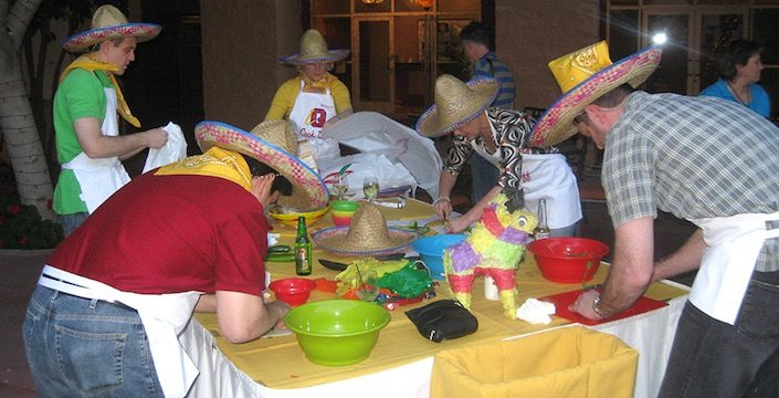 Team making salsa