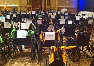 All the completed wheelchairs together with their handwritten notes