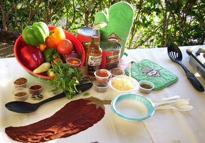 Picture of table with Chili Cook-Off ingredients