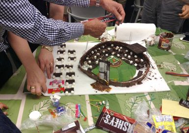Team building a chocolate stadium