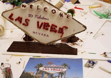 Las Vegas sign made with chocolate & candy