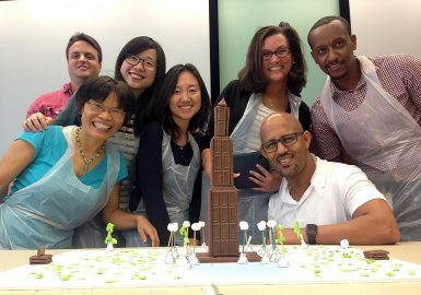 Team with their chocolate tower