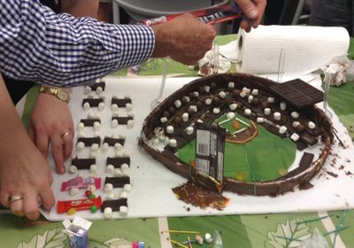 Picture of almost finished chocolate baseball stadium