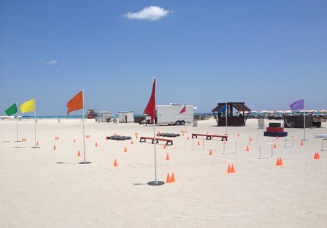 Picture of course on the beach for Let the Games Begin