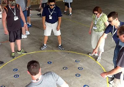 Picture of Igniting Team Performance activity with numbers on the floor within a circle