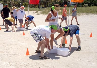 Picture of participants playing the dish pan activity during a Let the Games Begin program