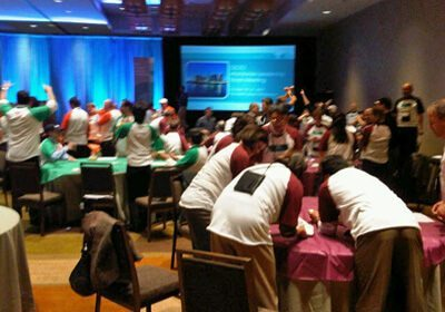 Picture of groups working at their tables during a Speed Networking program
