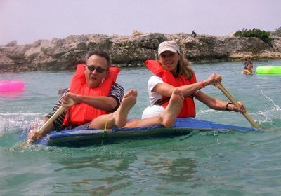 Build-a-Raft Competition duo paddling
