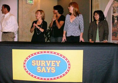 Picture of survey says team standing alongside each other at their table