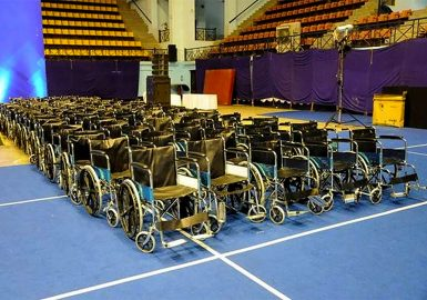 Multiple wheelchairs fully assembled
