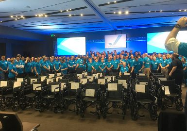 Huge team with their completed 40 wheelchairs