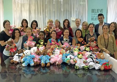 Group shot of participants with their finished bears