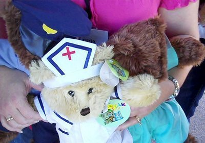 Close up shot of a assembled bear with nurse outfit