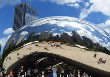 Team beneath the Chicago Bean