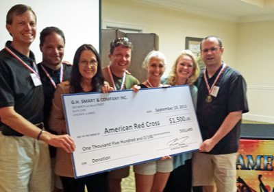 Team holding big check for the American Red Cross
