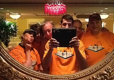 Mission Possible SmartHunt® participants taking selfie in the mirror with iPad