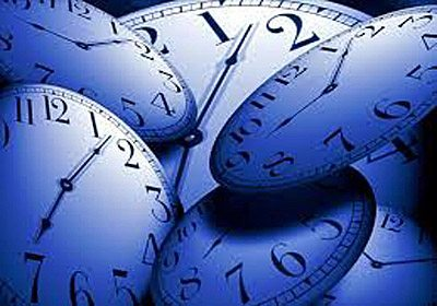 Graphic design of multiple clocks in a dark shade of blue