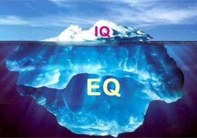 Graphic design of an iceberg labeled IQ and EQ with IQ on the top which is a small amount peaking out and EQ on the bottom which is below the water and massive