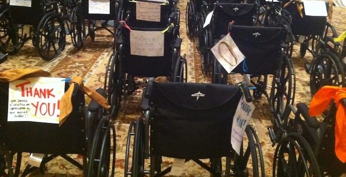 Completed and decorated wheelchairs