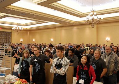 Hotel ballroom filled with Food Truck Face-Off participants
