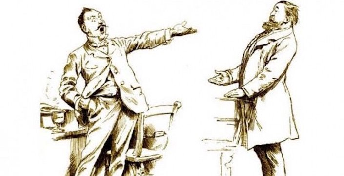 Cartoon drawing of man speaking to another man