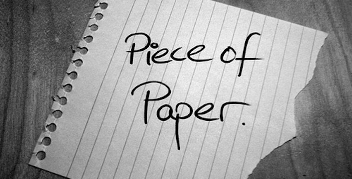 Notebook paper with the words Piece of Paper written on it