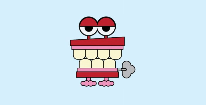 Cartoon of chattering teeth wind up toy