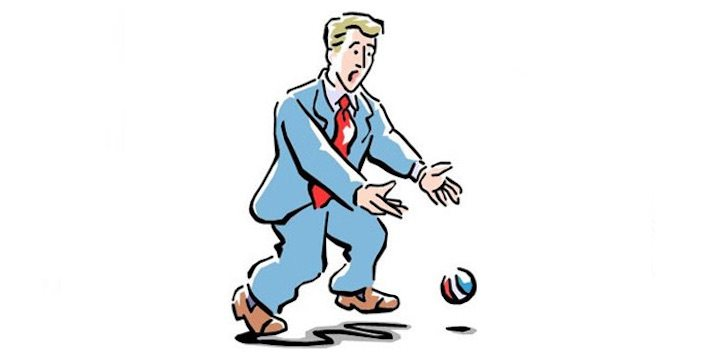 Cartoon man dropping a ball