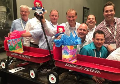 Team with their completed wagons and Raggedy Ann dolls