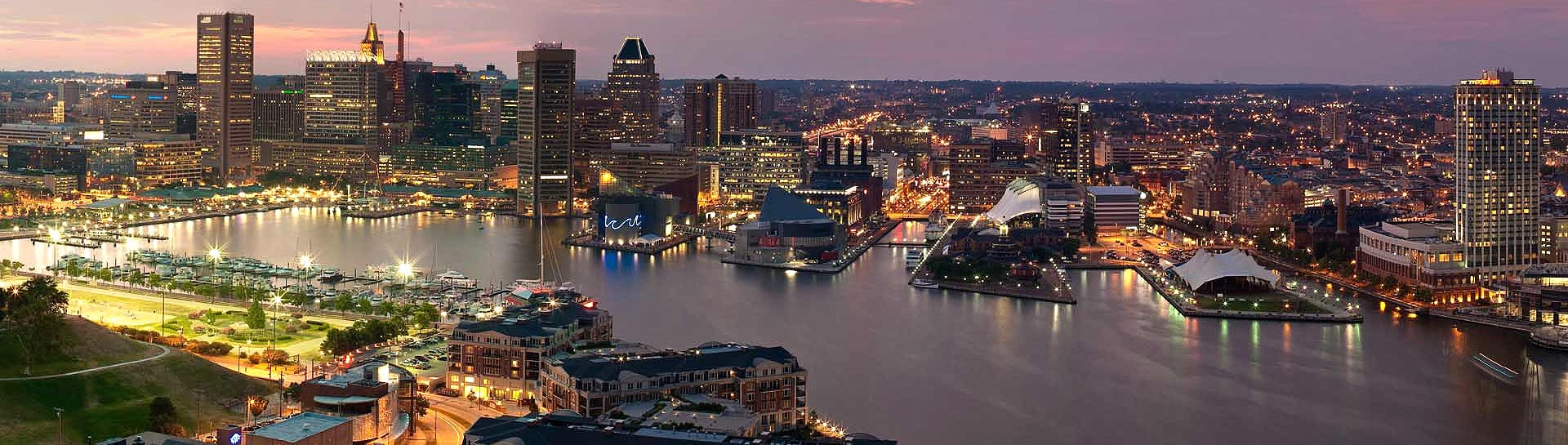 Baltimore Harbor skyline panoramic
