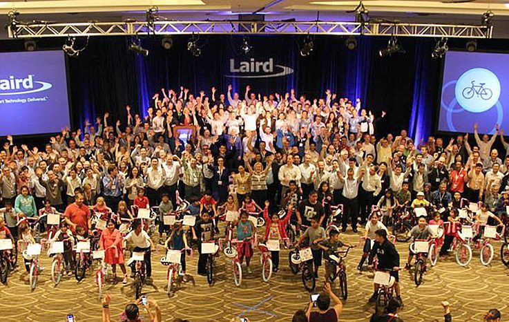 Huge crowd from Laird at a Bike Build Donation®