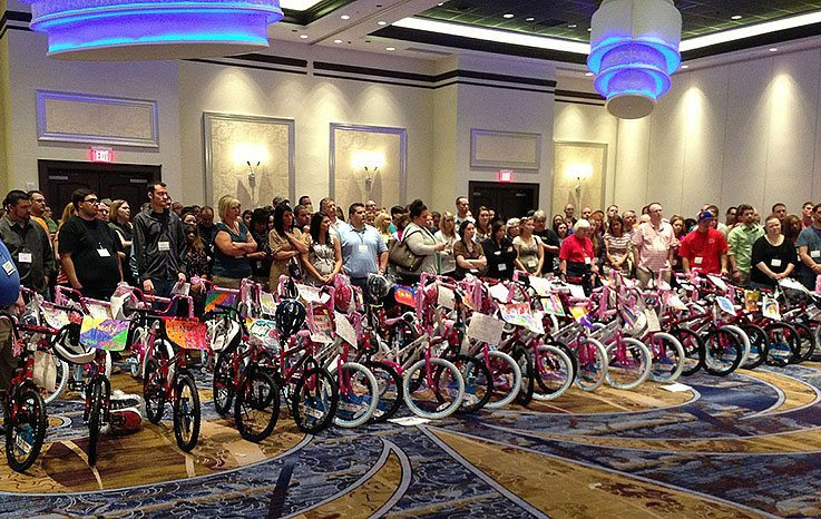 Large group with their completed and decorated bikes
