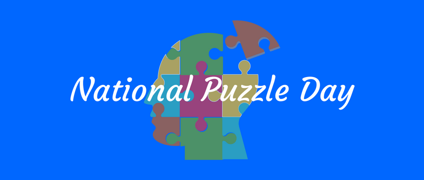 National Puzzle Day graphic art with blue background