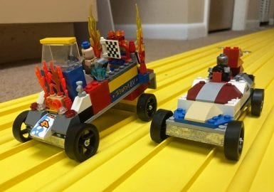 Two lego race cars